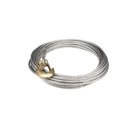 3/8 Inch x 65 ft. Replacement Winch Wire Heavy Steel Cable with Hook, New