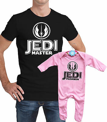 Star wars Jedi master and padawan Father tshirt and body girl rompersuit set