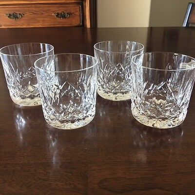 Vintage set of 4 Waterford Crystal  LISMORE Old Fashioned, Rocks Glass Tumblers