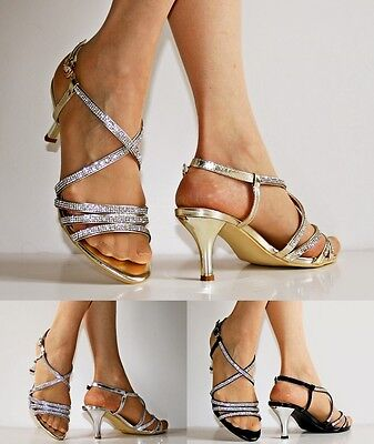NEW Ladies Party Prom Diamante Ankle Straps Low Kitten Heel Shoes Sandals 30-53