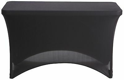 4 ft Black Dj Table Cover Stretch Scrim Spandex Type Table Skirt Facade Cover Up