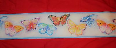 "PRE-PASTED Butterfly Wallpaper Border Wall Decals 5 YARDS PER  ROLL / 7"" TALL"