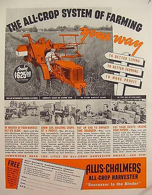 1938 Allis-Chalmers All Crop Harvester $625 Print Ad