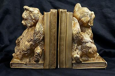 Vintage Gold Cat Kitten Universal Statuary Corp 1966 Bookends Perfect!