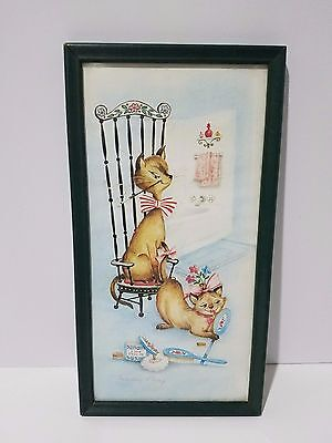 1950s  Cat Couple Margery d'Arcy Lithograph Print Powder Room Vtg Framed Art