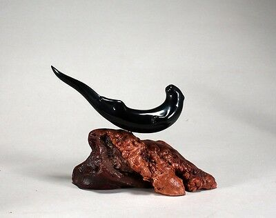 River Otter Statue New direct from JOHN PERRY 6in long Ebonite Sculpture