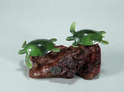 Turtle Duo Figurine New Direct from John Perry Decor Statue 5in Long on Burl