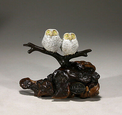 OWLETS Duo Statue New direct from JOHN PERRY 6in tall Figurine Decor on Burlwood
