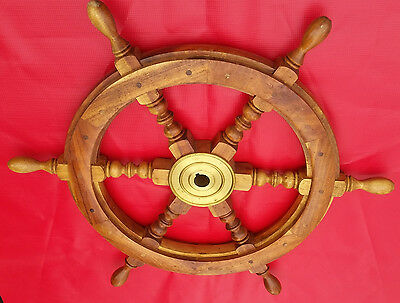 "17"" Yacht Nautical Ship Boat Steering Wheel - Teak"
