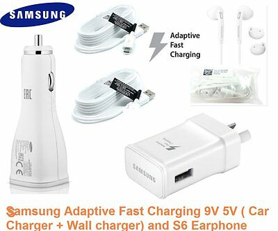 Genuine Samsung 9V/ 5V Adaptive Fast Wall charger, car Charger, Earphone Option