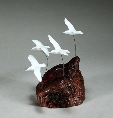 4 SEAGULLS New Direct from JOHN PERRY 6in tall Miniature Sculpture Decor