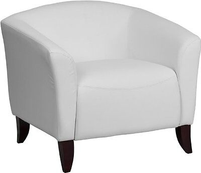 Flash Furniture 111-1-WH-GG Hercules Imperial Series Leather Chair, White/Cherry
