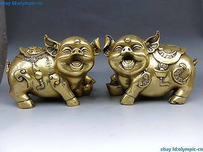 China Brass Copper Animal Feng shui Yuan Bao Wealth Money Pig A Pair Statue