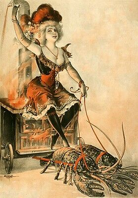 LOBSTER LADY, Vintage Freak Show Poster Rolled CANVAS ART PRINT 24x33 in.