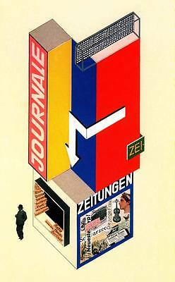 JOURNALE, 1924 Vintage Herbert Bayer Bauhaus Poster CANVAS ART PRINT 24x36 in.