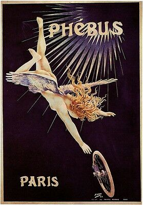 PHEBUS PARIS Vintage Cycle Advertising Poster Premium CANVAS PRINT 24x33 in.