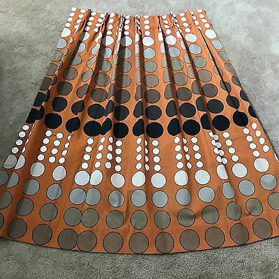 vintage 60s 70s mod pop retro curtains drapes mid century polka dot orange rust - Retro Curtains