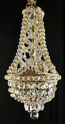 Antique french empire style Solid bronze and crystal chandelier 320