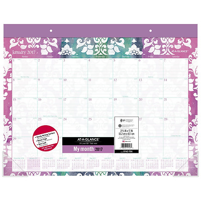"AT-A-GLANCE Desk Pad Calendar 2017, Monthly, 21-3/4 x 17"", Taryn (D142-704)"