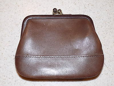 Vintage Coach Brown Leather Coin Kiss Lock Change Purse Wallet
