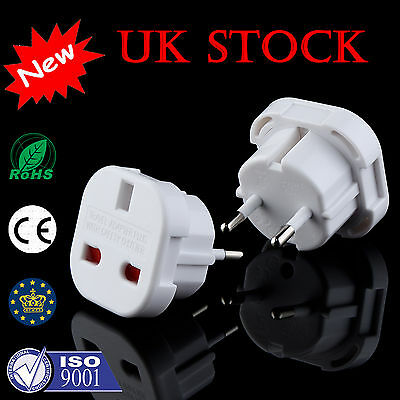 UK Plug 3-Pin To EU 2-Pin European Euro Europe Socket Converter Adapter UK Stock