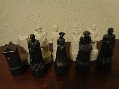 Beneagles Scotch Whisky Chess Pieces Decanter Bottle Lot Of 10 Scotland