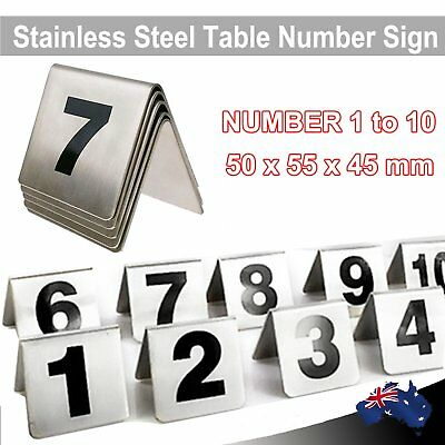 10 pcs of Stainless Steel Table Number Set 1 to 10 Sign Signs A Frame 50 x 50mm