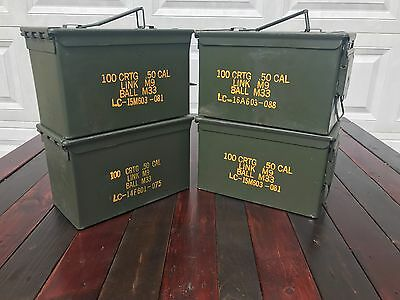 (4 Pack) 50 Cal M2a1 AMMO CANS BOXES CASES Good condition FREE SHIPPING