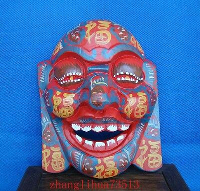 """Antique Handmade Carving colored drawing wood Mask Smiling Face Buddha 7.48"""""""