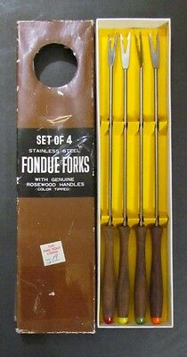 Vintage Fondue Forks Set of 4 Rosewood Made in Japan Mid Century