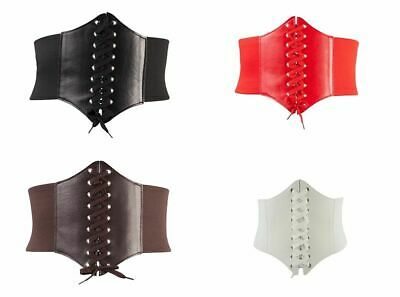 Ladies Waist Cincher Wide Band Elastic Tied Waspie Corset Leather Belt Uk