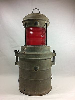 Rare Vintage Perko Battery Operated Marine Nautical Light Lantern w/ Red Glass