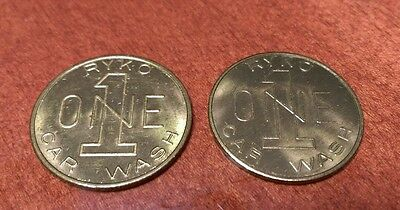 Lot of 2 Vintage Ryko Car Wash Tokens Uniface Brass Coins
