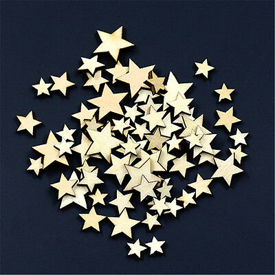 100Pcs Mixed Five-pointed Star Shape Sewing Scrapbook Craft Wooden Buttons