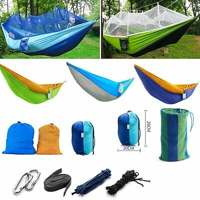 New Portable Hammock With Mosquito Net Outdoor Bed Camping Hiking Hanging Trave
