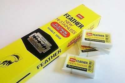 GENUINE Feather Hi-Stainless Double Edge Razor Platinum Coated Blades - 100pcs