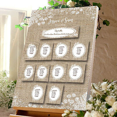 "PERSONALISED Wedding Table Plan  20""x30""  10 x Table Numbers 100 x Place Cards"