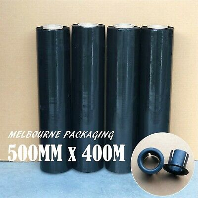1 / 2 / 4 / 8 Rolls 500mm x 450m 25UM Black Hand Stretch Film Pallet Wrap