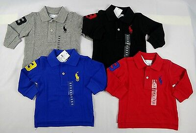Ralph Lauren Baby Boys Long Sleeve Pony Polo Shirt sizes 6, 9 months