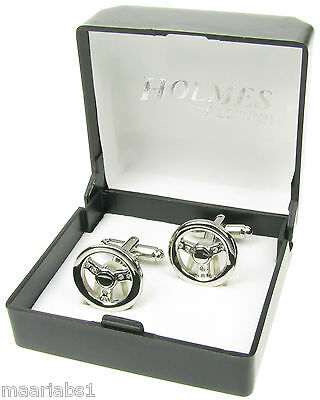 Mens Cufflinks Silver Truck Racing Car Steering Wheel Cuff Links Xmasgift Bnibuk