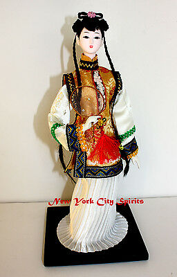 "Traditional Chinese Art Silk Figurine Doll Statue 12.5"" Holding Fan"