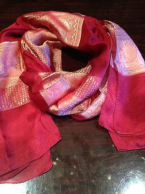 Vintage Red And Gold Paisley Sheer Chiffon Silk Shawl Wrap Scarf