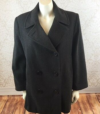 Talbots Womens Sz 14 Petite Military Style Gray Wool Pea Coat Anchor Buttons
