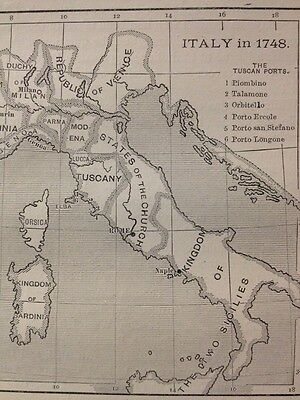 ITALY 1748, THE TUSCAN PORTS, MAP BARTHOLOMEW From Balance Of Power Hassall 1908
