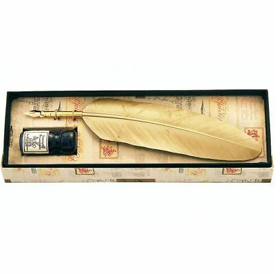 Feather Quill Pen & Ink Calligraphy Set - Gold - Great Gift