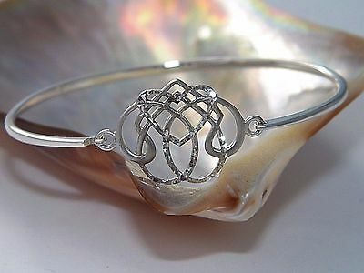 Unique Celtic Knot Love Bangle Bracelet - 925 Sterling Silver Diamond Cut Finish