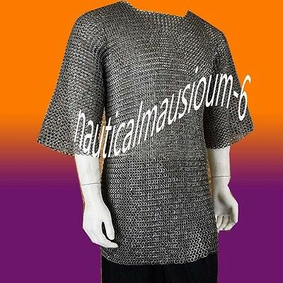 Flat Rivet With Flat Washer Chainmail XL Size Half sleeve Hubergion Shirt Black