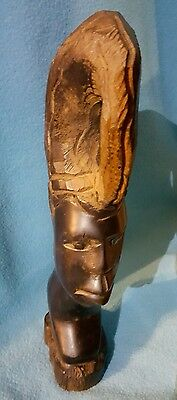 wood male statue head - African art from Benin