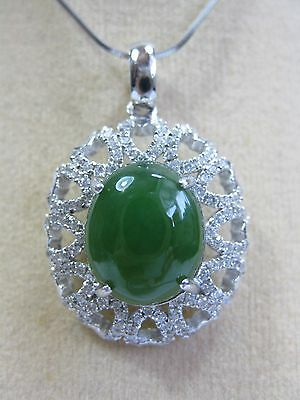 925 silver round shape inlay natural green jadeite pendant (without chain)