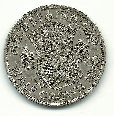 A Very Nice High Grade 1940 Great Britain 1/2 Half Crown Silver Coin-Jun103